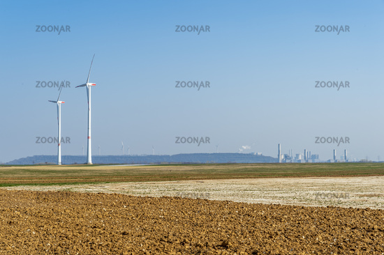 New wind field, 2 wind turbines, coal power plants.