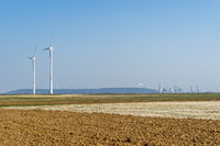 New wind field, 2 wind turbines, coal power plants.