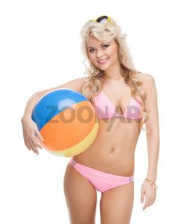 beautiful woman in bikini with beach ball