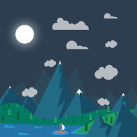 natural landscape in nighttime (the style of flat)