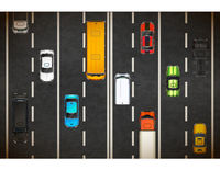 Top view of traffic jam with lots of realistic cars on highway background