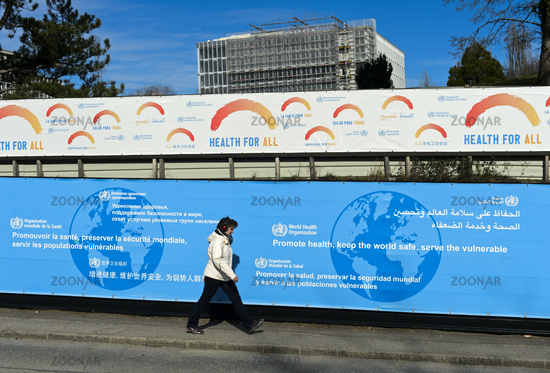Poster walls with the motto Health for all at the headquarters of the World Health Organization, WHO