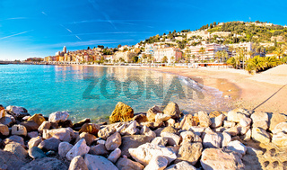 Colorful Cote d Azur town of Menton beach and architecture panoramic view