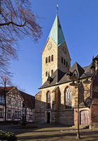 Church tower of the catholic parish church Sankt Petrus in the old town, Waltrop, Germany, Europe