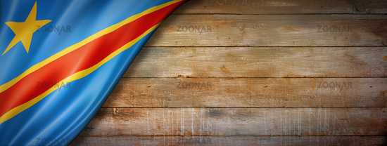 Democratic Republic of the Congo flag on vintage wood wall banner