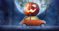 Halloween car delivering pumpkin