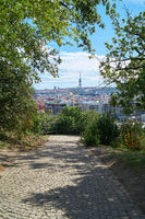 View from Letna Park to the television tower in Prague in the Czech Republic