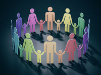 Families holding hands forming a circle alltogether. 3D illustration