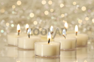 Group of tea lights for holiday celebrations