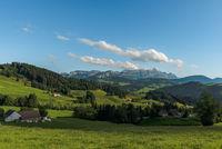 View of the Alpstein and Saentis, Appenzellerland, Canton of Appenzell Inner-Rhodes, Switzerland
