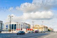 Independense avenue traffic Minsk Belarus