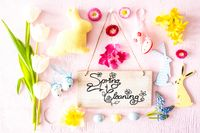 Sunny Easter Flat Lay, Sign, Calligraphy Spring Cleaning