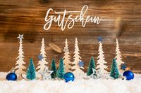 Christmas Tree, Snow, Blue Star, Ball, Gutschein Meanas Voucher, Wood