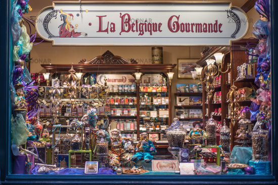 Brussels, Belgium - February 17, 2014:. Interior of chocolate shop in Brussels, Belgium near Grand Place. Belgium is known for its chocolate delicacies.