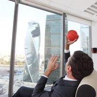 Businessman with basketball