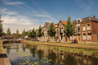 Canal with aquatic plants, brick houses and bridge in Weesp
