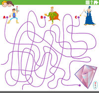 educational maze game with fantasy characters