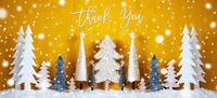 Banner, Christmas Trees, Snowflakes, Yellow Background, Thank You