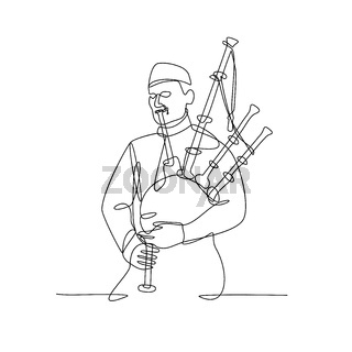 Scottish Bagpiper Playing Bagpipe Continuous Line Drawing Black and White