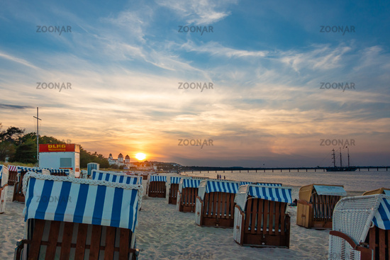 The beach of Binz on Rügen in the sunset light, Mecklenburg-Vorpommern, 2020