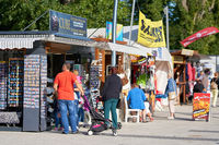 Souvenir stalls for tourists on the promenade of Swinoujscie on the Polish coast of the Baltic Sea