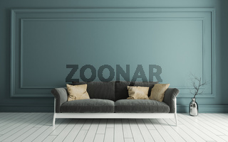 Grey seat with Modern classic green wall panels and white wooden floor 3D rendering