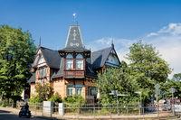 Schkeuditz, Germany - June 19, 2019 - historic half-timbered house