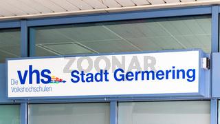 Municipal Germering, District Fürstenfeldbruck, Upper Bavaria, Germany: Label of VHS Stadt Germering (Community Collage)