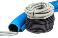 Plastic hoses on an isolated background