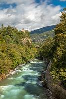 Zenoburg castle at Passer river in Meran, South Tyrol