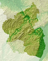 Rhineland-Palatinate - topographical relief map