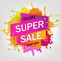 Sale Banners With Blobs Isolated Gray Background