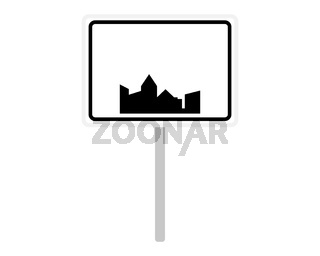 Ortsschild aus Belgien auf weiss - Road sign of Belgium on white