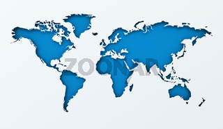 World map paper cutout with blue background