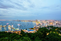 Pattaya City at sunset landmark in Thailand