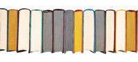 Stack of hardcover books on bookshelf. Close-up view of vintage hardback books isolated on white bac