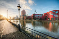 Sunset in the harbor of Duisburg