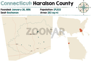 Large and detailed map of Haralson county in Georgia, USA.