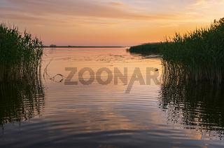 Dnipro river summer sunset twilight landscape, Ukraine