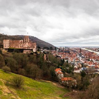 Panorama of Skyline and Heidelberg Castle, ger. Schloss Heidelberg in Heidelberg, Baden-Wuerttemberg, Germany. Europe