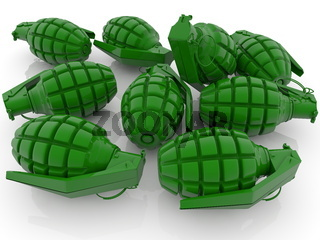 Concept of Green hand grenades