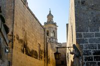 View of Mdina cathedral through street