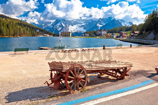 Lake Misurina in Dolomiti Alps alpine landscape view