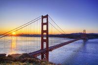 Sunrise over the golden gate bridge, San Francisco, california, usa.
