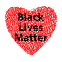 Black Lives Matter Banner with Red Heart for Protest on White Background