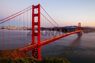 Golden Gate View At Dusk