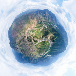 beautiful little planet image of datong river in qinghai