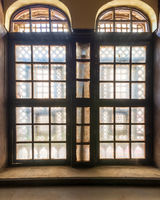 Empty room with retro ornamental grunge window