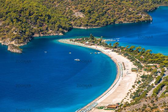Panoramic view of Oludeniz beach and Blue lagoon, Fethiye, Turkey.
