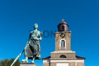 Wäscherin Tine und Marienkirche in Husum